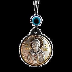 Брелок икона Спаситель серебряная с позолотой