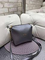 Женская сумка клатч маленькая сумочка через плечо кроссбоди молодежная графит кожзам, фото 1