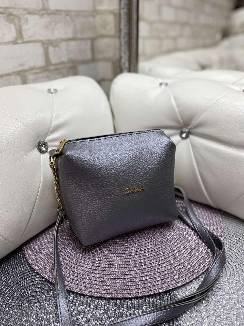 Женская сумка клатч маленькая сумочка через плечо кроссбоди молодежная графит кожзам