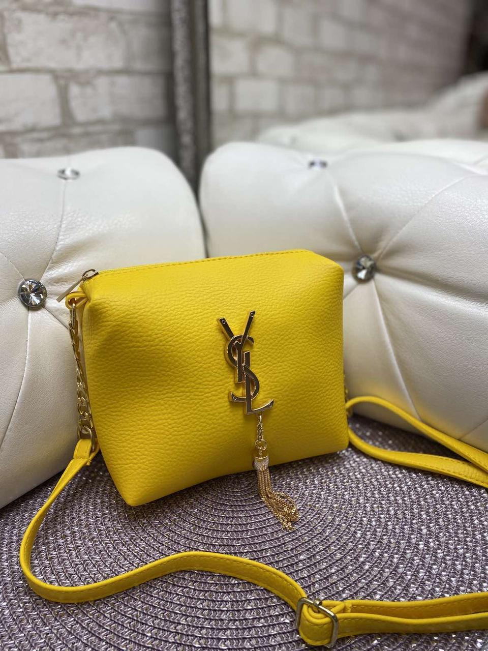 Женская сумка клатч яркая желтая маленькая сумочка через плечо кроссбоди молодежная кожзам