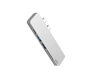Адаптер WIWU T8 Lite USB-C Hub with 2 x USB 3.0, Micro SD Slot, SD Card Slot and Type-C Port Silver