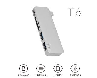 Адаптер WIWU T6 USB-C Hub with 2 x USB 3.0, Micro SD Slot, SD Card Slot and Type-C Port Silver