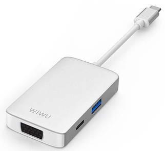 Адаптер WIWU A513HVP USB-C with 4K HDMI, USB 3.0 Ports, PD Charging, 3.5 mm Audio and VGA Silver