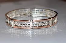 Срібний браслет з пластинами із золота, фото 3