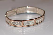Серебряный браслет с золотыми накладками, фото 3