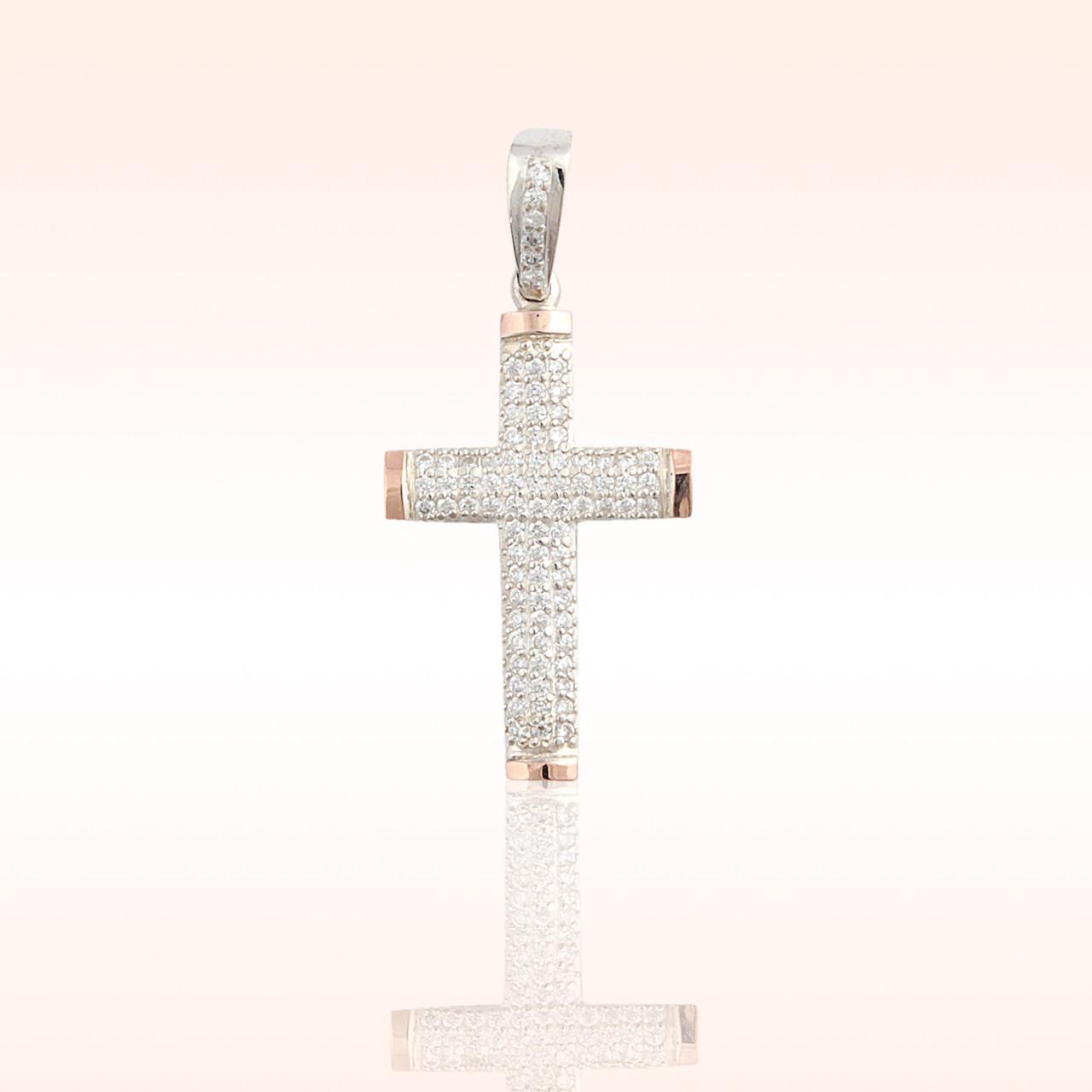Срібний хрестик з золотими пластинами