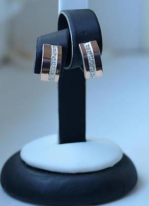 Серебряные серьги с золотыми пластинами, фото 2