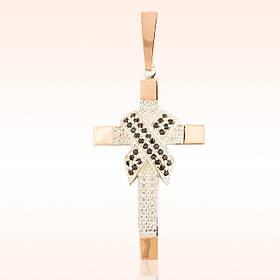 Мужской крест серебро с золотом