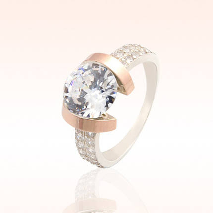 Серебряное кольцо со вставками из золота, фото 2