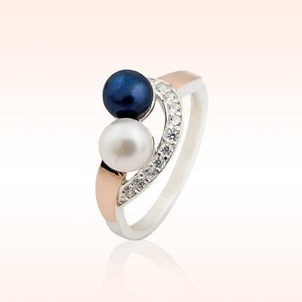 Срібне кільце з перлами, фото 2