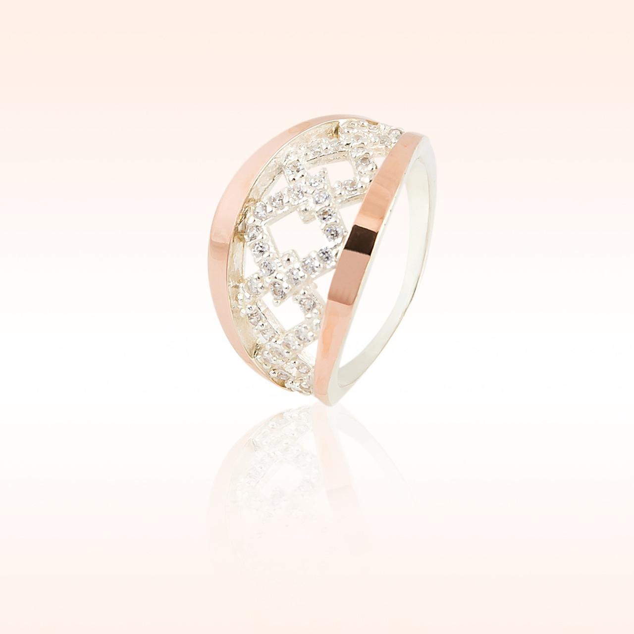 Кольцо серебро с золотом
