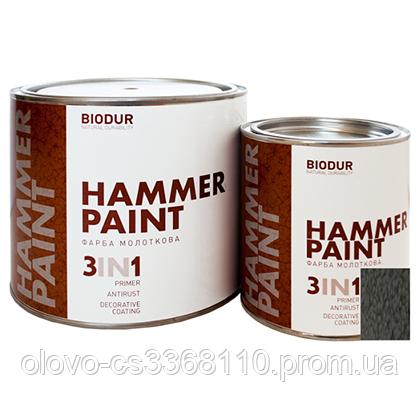 Фарба спеціального призначення молоткова 104 сіра Biodur, 0.7 л