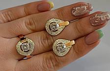 Серебряный комплект с золотыми вставками, фото 2