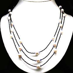 Срібне намисто з натуральними Перлами Танзанитами і чорною Шпинелью