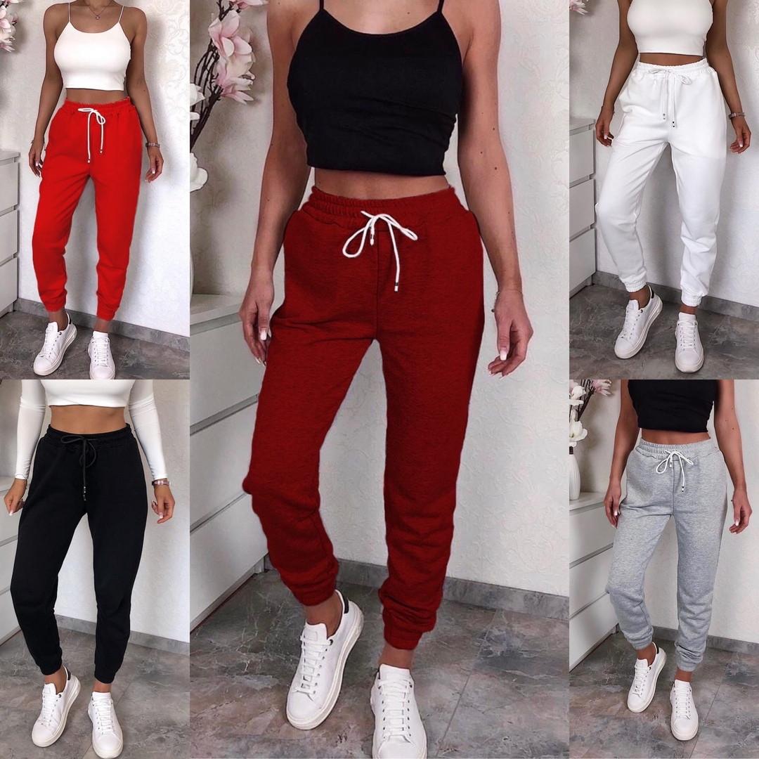 Женские спортивные трикотажные штаны на манжете, 7цветов,  Р-р.42-44,44-46,48-50 Код 448Ц