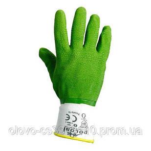 Рукавиці нейлонові, облив зелений ребристий латекс (4526)