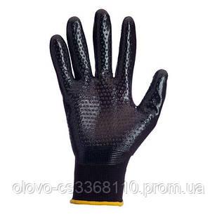 Рукавиці нейлонові чорні, облив чорний нитрил з точкою (4522)