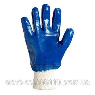 Рукавиці х / б + інтерлок, облив синій нитрил, в'язаний манжет (850)