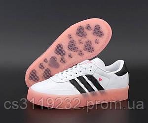 Женские кроссовки Adidas Samba Love White/Pink (белые)