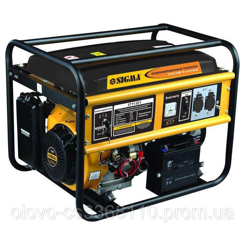 Генератор газ / бензин 5.0 / 5.5 кВт, 4-х тактний, електрозапуск (5711321)