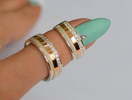 Обручальное кольцо из серебра с золотом, фото 2
