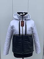 Стильная молодежная спортивная осенняя куртка с высоким горлом в белом цвете 44-54 размеры в наличии