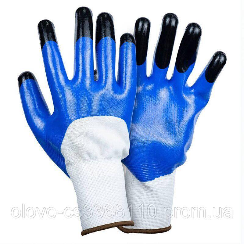 Рукавички трикотажні з частковим нітриловим покриттям, посилені пальці р9 (синьо-чорний манжет)
