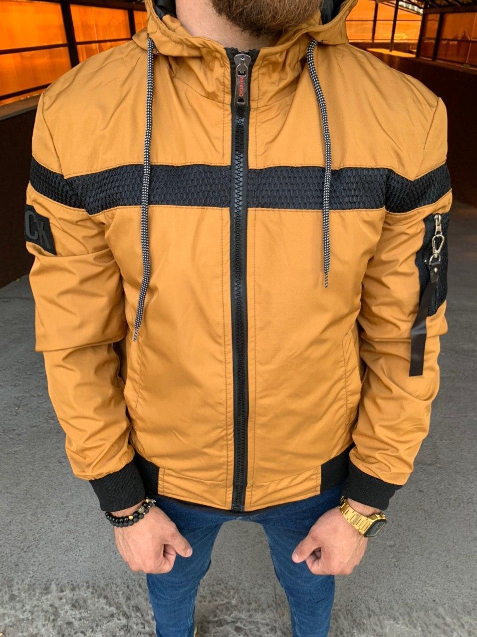Мужская куртка горчичная Black 34-550