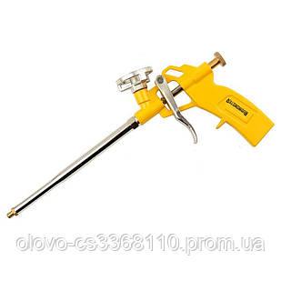 Пістолет для монтажної піни з алюмінієвою ручкою і корпусом, нікелеве покриття, 4 насадки Budmonster (ВМ-119)