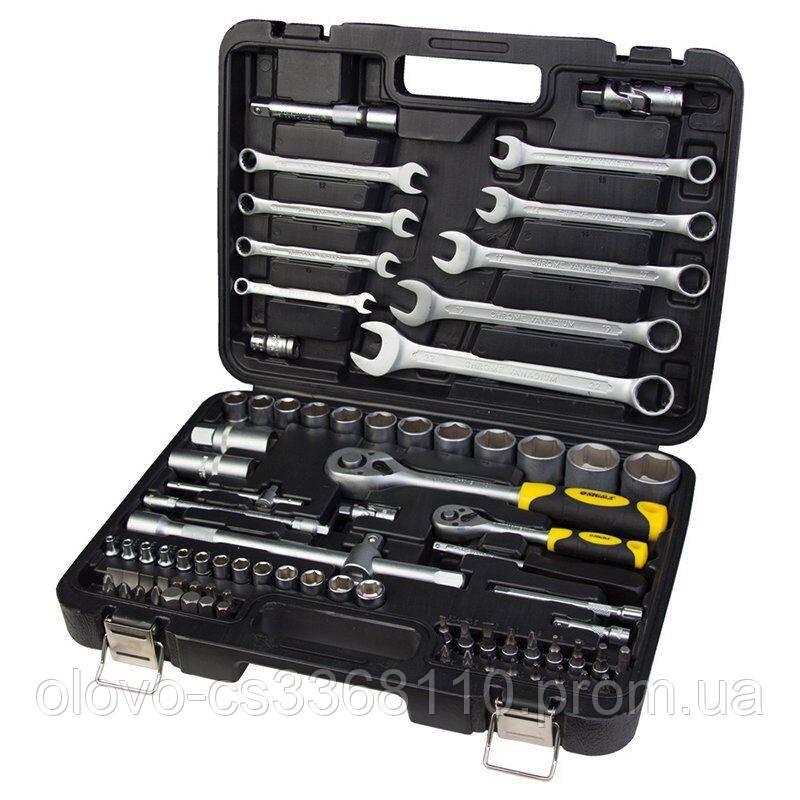 Набір ключів, біт і насадок торцевих 1/4 '', 1/2 '', 82 шт, CrV mid (6001551)