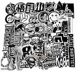 Набор стикеров Bands and Logos (black-white) (stk-012) (50 шт.)