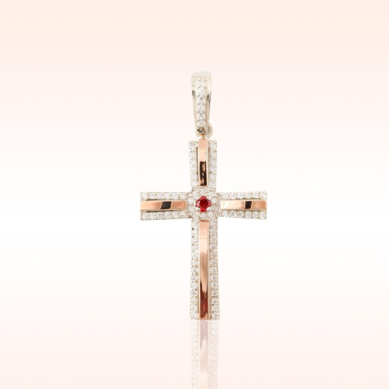 Серебряный крестик с напайками из золота