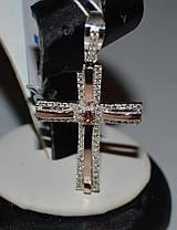 Серебряный крестик с напайками из золота, фото 3