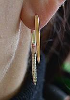 Серебряные серьги с золотыми вставками, фото 2