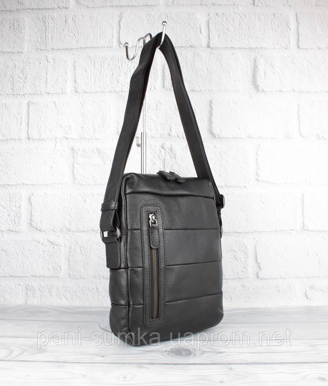 Кожаная мужская сумка Bond Non 1162-281 черная средняя, Турция