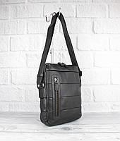 Кожаная мужская сумка Bond Non 1162-281 черная средняя, Турция, фото 1
