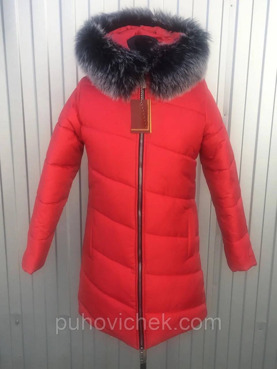 Зимняя женская куртка с мехом размеры 40-50