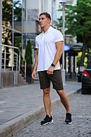 Комплект - хаки шорты и белая футболка поло, фото 1