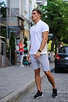 Комплект - серые шорты и белая футболка поло, фото 1