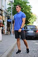 Комплект - темно-серые шорты и синяя футболка поло, фото 1
