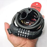 Велосипедний замок кодовий 11 мм х 1,2 м. трос протиугонка, фото 1