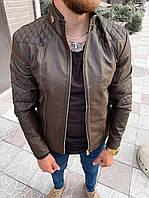 Мужская кожанка коричневая 78-121, фото 1