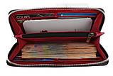 Кошелек женский кожаный клатч большой travel SULLIVAN  фуксия, фото 4