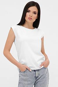Жіноча однотонна футболка без рукавів (00 fup)