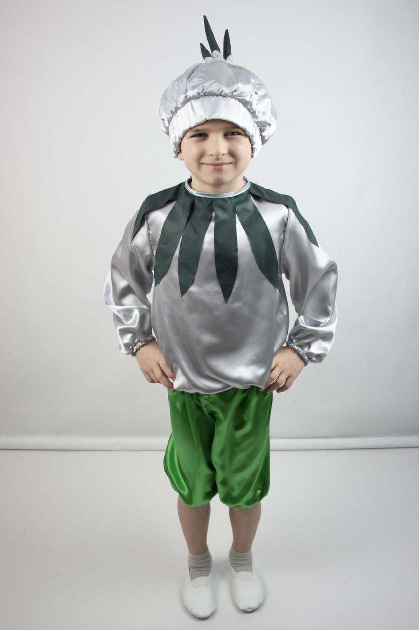 Детский карнавальный костюм Чеснок из атласа на 3-6 лет