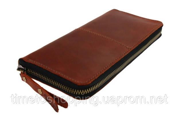 Кошелек  кожаный клатч большой travel SULLIVAN  светло-коричневый