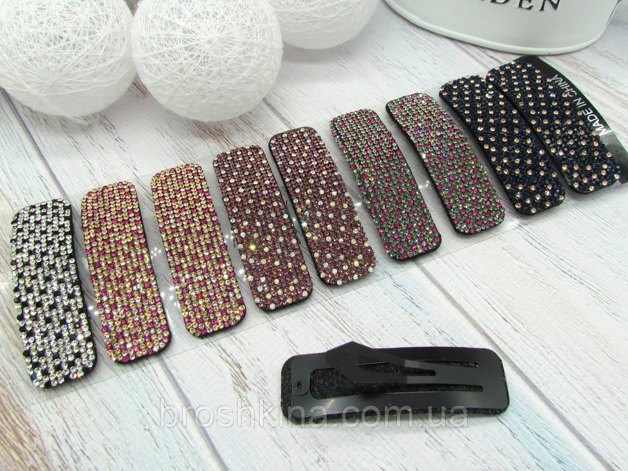 Заколки для волос тик-так 7.5 см цветные кристаллы 10 шт/уп.