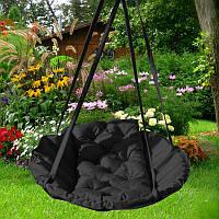 Подвесное кресло гамак для дома и сада 96 х 120 см до 120 кг черного цвета