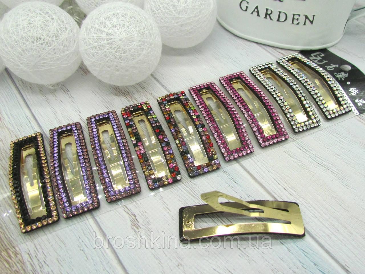 Заколки для волос тик-так 7.3 см цветные кристаллы 10 шт/уп.