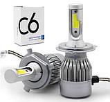 Автомобильные Светодиодные Лед LED лампы HeadLight C6 72 Вт 7600LM 6500К 12V COB Цоколь H4 (в ящике 50шт)., фото 4